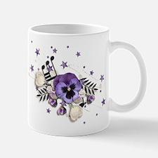 Purple Pansy And Purple Stars with A Music Note Mu