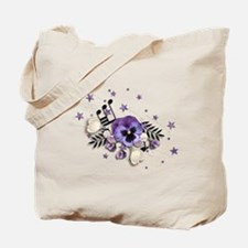 Purple Pansy And Purple Stars with A Music Note To