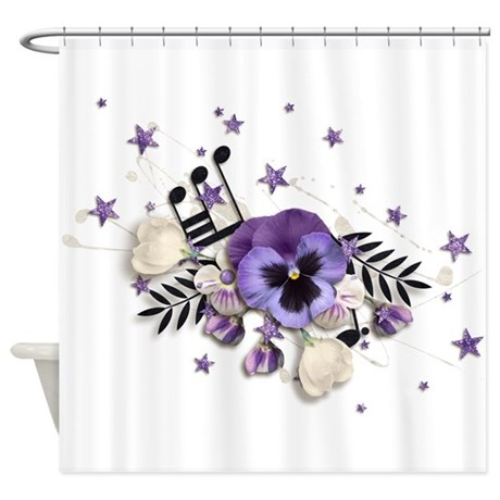 Purple Pansy And Purple Stars With A Music Note Sh