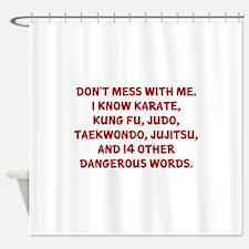 Taekwondo Sayings Shower Curtains Taekwondo Sayings Fabric - Shower curtain with words
