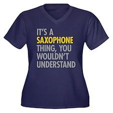 Its A Saxoph Women's Plus Size V-Neck Dark T-Shirt