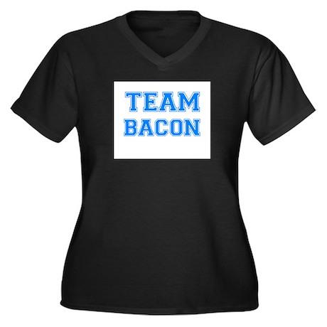TEAM BACON Women's Plus Size V-Neck Dark T-Shirt