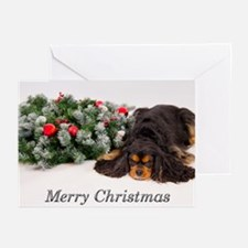 Merry Christmas Black Cavalier King Greeting Cards