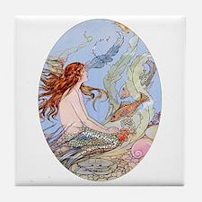 Red Head Mermaid ! Tile Coaster