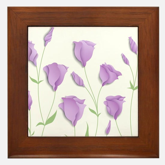 Lilac Flowers Framed Tile