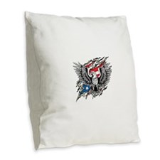 American Eagle Burlap Throw Pillow