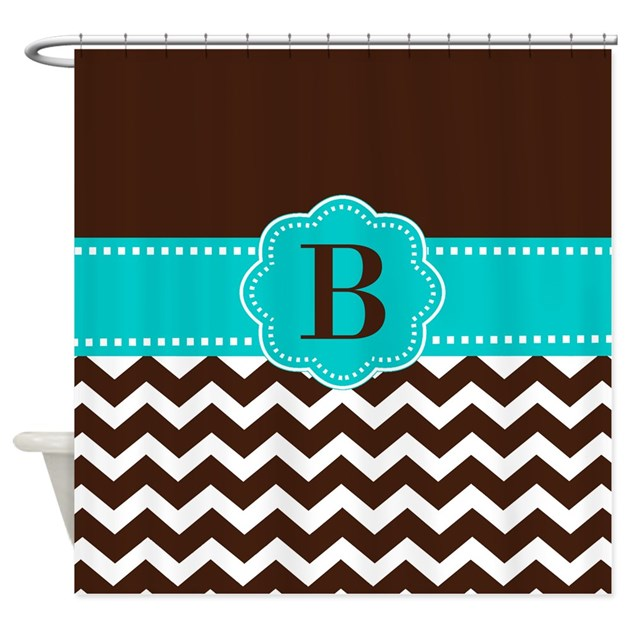 Brown Teal Chevron Monogram Shower Curtain By