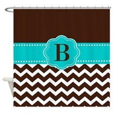 Brown Teal Chevron Monogram Shower Curtain