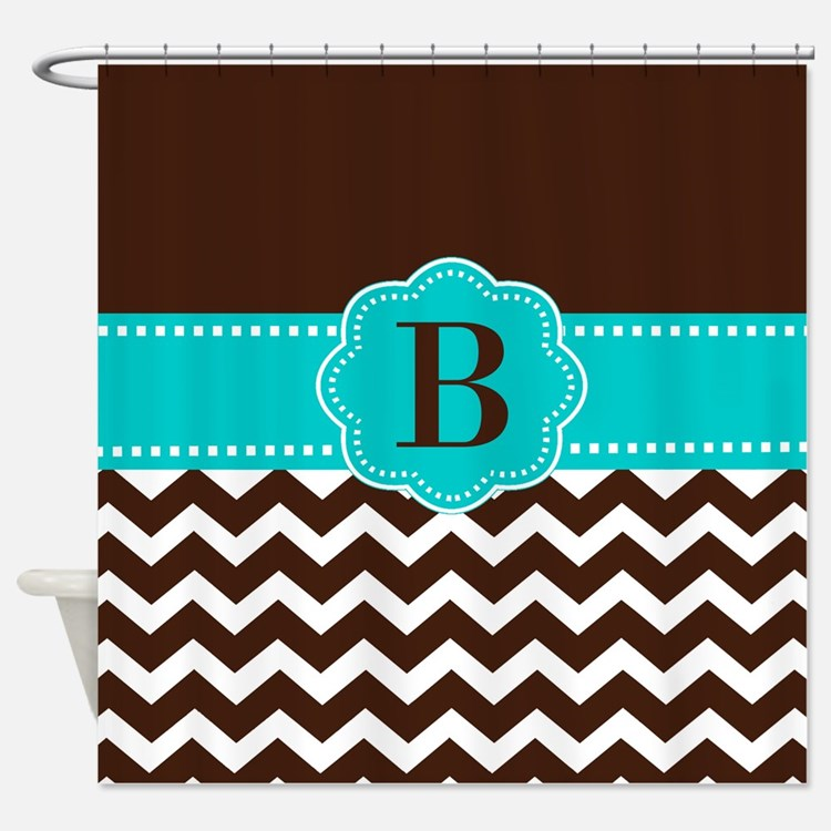 Teal Chevron Shower Curtains
