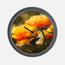 Big Yellow Peony Flower Wall Clock
