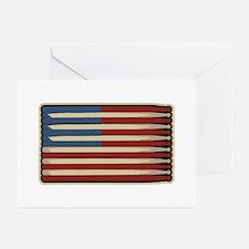Retro Drummer Drumstick Flag Greeting Cards (Packa