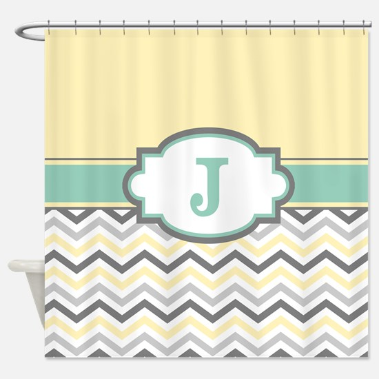 Yellow Gray Mint Chevron Monogram Shower Curtain