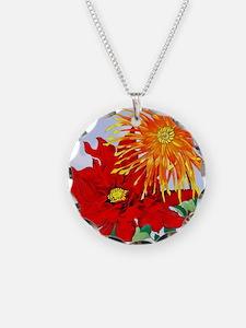 Dahlias! Japanese Woodcut Necklace