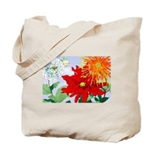Dahlias! Japanese Woodcut Tote Bag