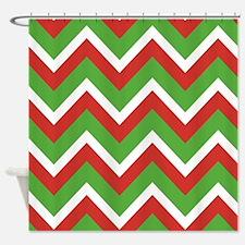 Christmas Chevrons Shower Curtain