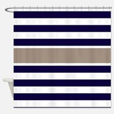 Navy Beige Stripe Shower Curtain