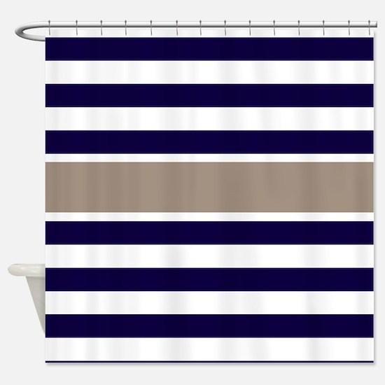 navy and tan shower curtain. Navy Beige Stripe Shower Curtain Blue And Tan Curtains  CafePress