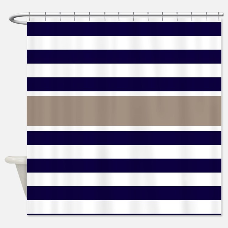 Navy Blue And Tan Shower Curtains