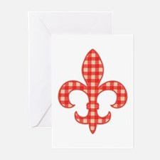 Red Gingham Fleur de lis Greeting Cards (Package o