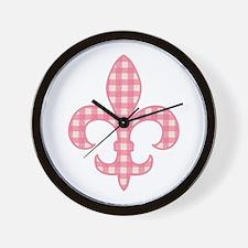 Pink Gingham Fleur de lis Wall Clock