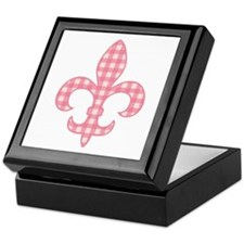 Pink Gingham Fleur de lis Keepsake Box