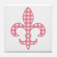 Pink Gingham Fleur de lis Tile Coaster