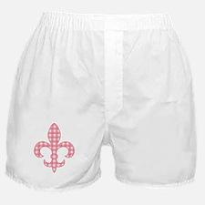 Pink Gingham Fleur de lis Boxer Shorts