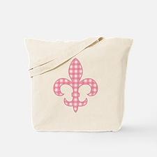 Pink Gingham Fleur de lis Tote Bag