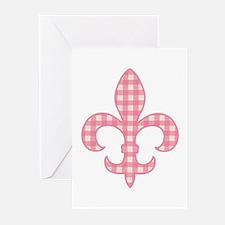 Pink Gingham Fleur de lis Greeting Cards (Package