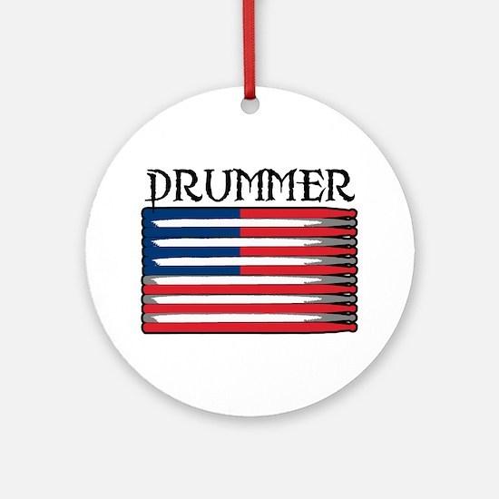 Drummer USA Flag Drumsticks Ornament (Round)