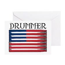 Drummer USA Flag Drumsticks Greeting Cards (Packag