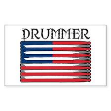 Drummer USA Flag Drumsticks Rectangle Stickers