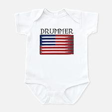Drummer USA Flag Drumsticks Infant Bodysuit