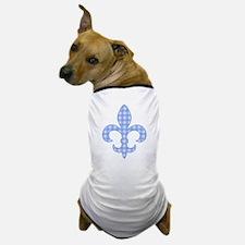Blue Gingham Fleur de lis Dog T-Shirt