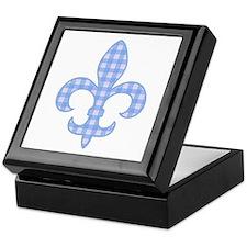 Blue Gingham Fleur de lis Keepsake Box