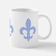 Blue Gingham Fleur de lis Mug