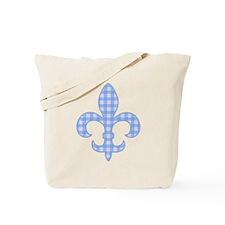 Blue Gingham Fleur de lis Tote Bag