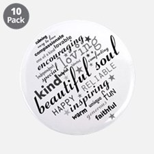 """Positive Thinking Text 3.5"""" Button (10 pack)"""