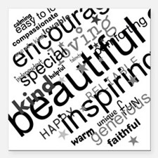 """Positive Thinking Text Square Car Magnet 3"""" x 3"""""""