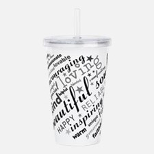Positive Thinking Text Acrylic Double-wall Tumbler