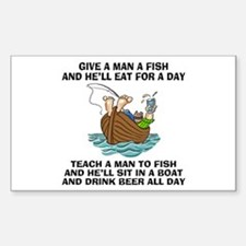 Teach A Man To Fish Rectangle Decal