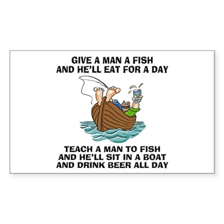 Teach a man to fish rectangle decal by homecooked for Teach a man to fish
