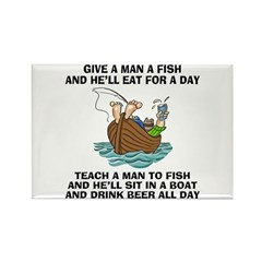Teach A Man To Fish Rectangle Magnet