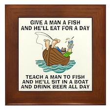 Teach A Man To Fish Framed Tile