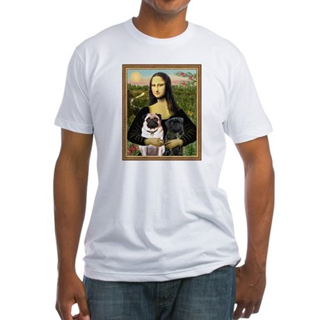 Mona Lisa (new) & Pug Pair Fitted T-Shirt