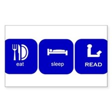 eat sleep read Rectangle Decal