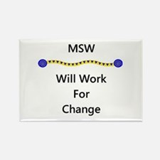 MSW Will Work for Change Rectangle Magnet