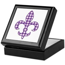 Purple Gingham Fleur de lis Keepsake Box