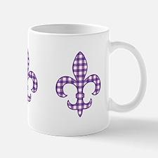 Purple Gingham Fleur de lis Mug