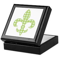 Green Gingham Fleur de lis Keepsake Box
